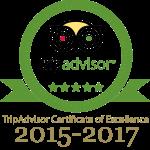 Tripadvisor Certfifcate of Excellence 2015-2017