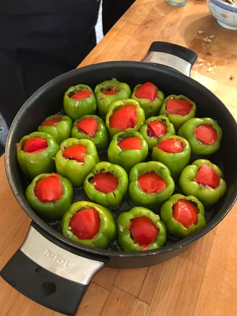 Aromatic Rice Stuffed Bell Peppers With Olive Oil